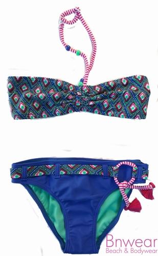 Ibiza style kinder bikini in blue/green design