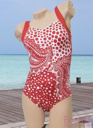 Bahama Beach Badpak in rood gevoerd.