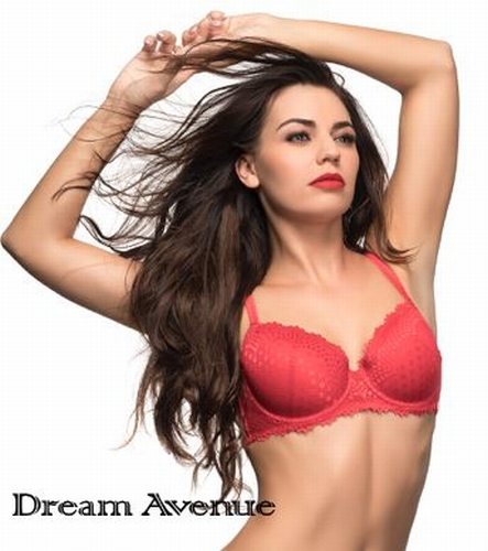 Dream Avenue T-shirt BH in red met glad kant