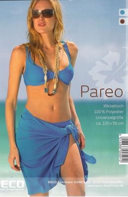 Pareo in wit blauw rood oranje licht blauw kort model.