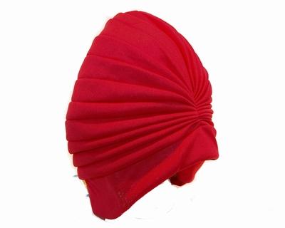 Badmuts van Beco in rood stof met plooien