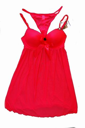 Slip dress met push-up cups in rood en zwart