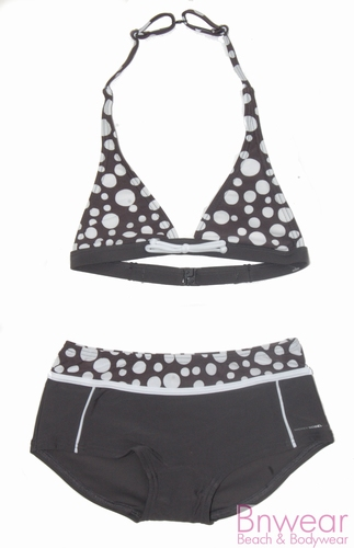 Halter bikini Nickey Nobel in grijs met stippen