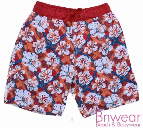 Zwemshortje in rode bloemprint