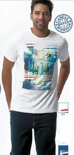 T-shirt in blauw en wit  met print voor heren