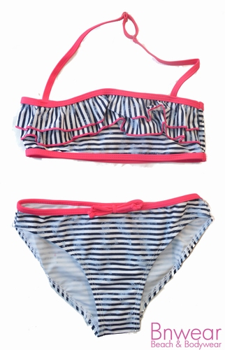 Bikini voor meisjes in streep printje met roesjes