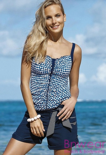 Sunflair prothese tankini in blue/white 78023