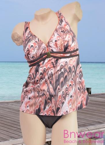 Bahama Beach Tankini in mocca tint in grote maat