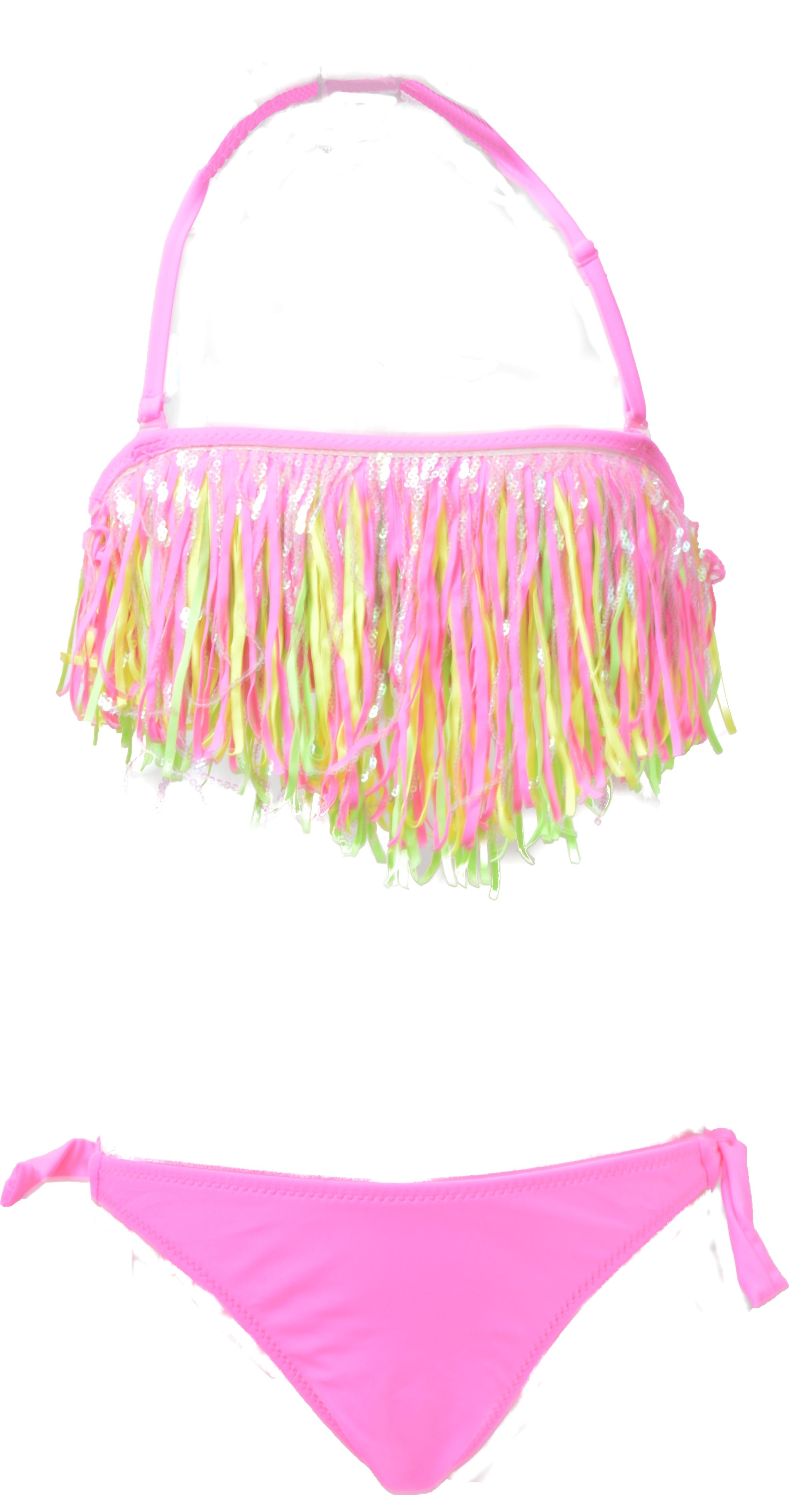 Fringe meisjes bikini in felle kleuren - Felle kleuren ...